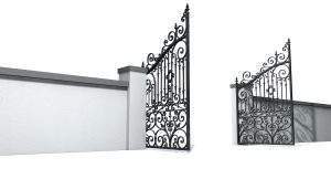 A solid plastered garden wall with an ornate open metal gate on an isolated white background